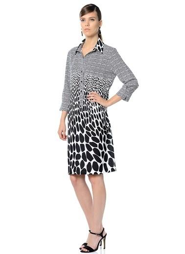 Asymmetry Desenli Gömlek Elbise Siyah